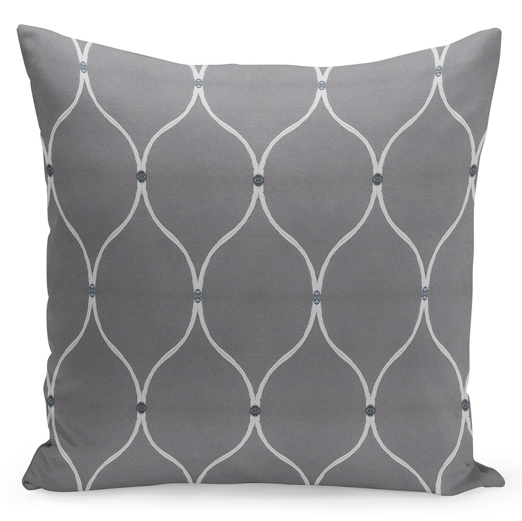 Dekorační šedý povlak na polštář s ornamenty