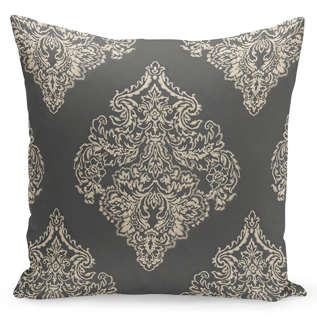Dekorační hnědý povlak na polštář s ornamenty