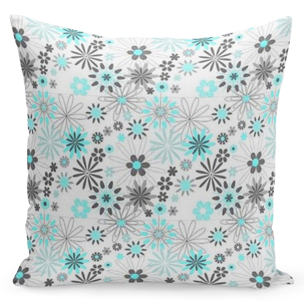 Bílý povlak s květinami v bílo šedě tyrkysové kombinaci