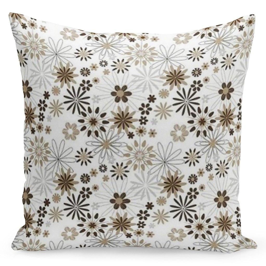 Bílý povlak s květinami v bílo hnědo zelené kombinaci