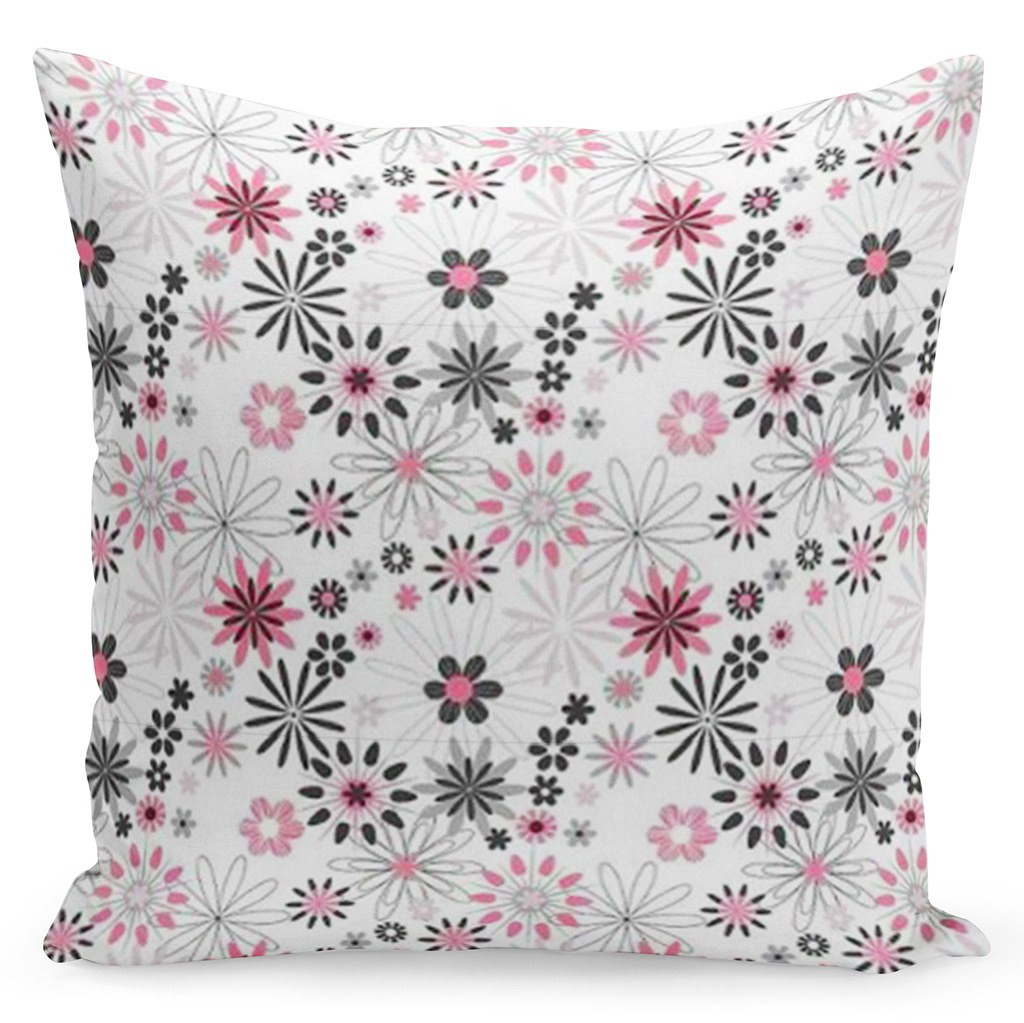 Bílý povlak s květinami v bílo černo růžové kombinaci