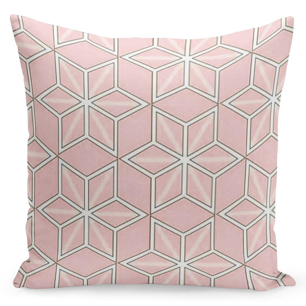 Růžový povlak s bílými geometrickými tvary