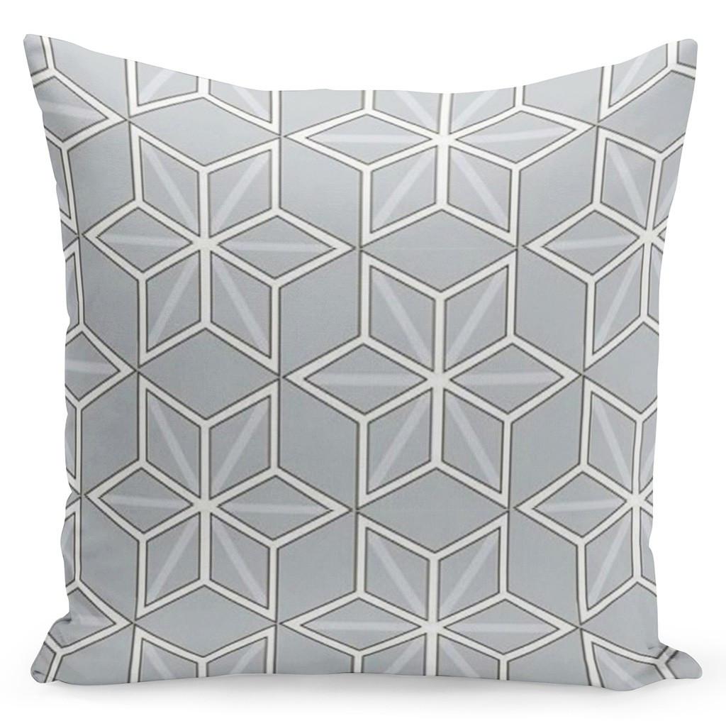 Šedý povlak s bílými geometrickými tvary