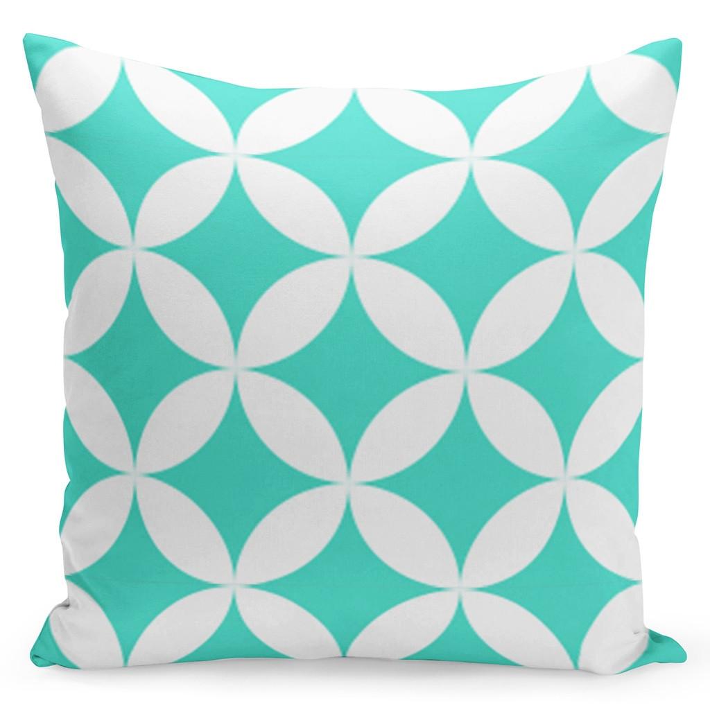 Bílý povlak s tyrkysovými geometrickými tvary