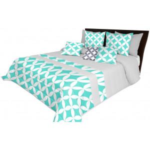 Prošívaný přehoz na postel s tyrkysovým motivem