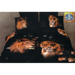 Černé bavlněné povlečení na postel s lvem a lvicí