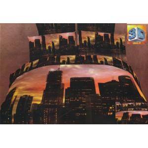 Bavlněné povlečení na postel s mrakodrapy velkoměsta při soumraku