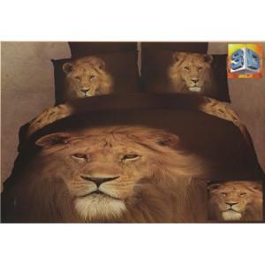 Hnědé povlečení na postele s hlavou lva