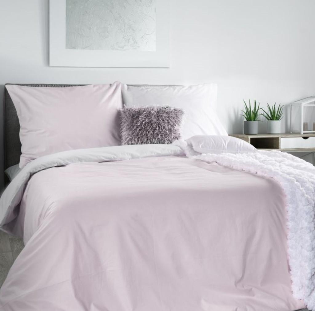 Pohodlné bavlnené posteľne obliečky v bielo rúžovej kombinácii