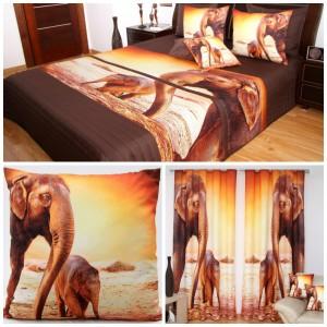 3D hnědý set přehoz, povlaky na polštáře a závěs s motivem slonů