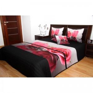 Přehoz na postel černo šedý růže