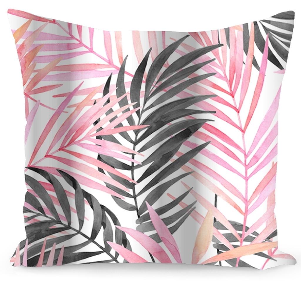 Bílý povlak s růžovými a šedými listy