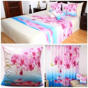Bílo-modrý set do ložnice s růžovými květy