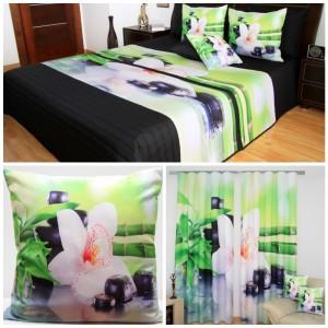 Černo-zelený set do ložnice s bílým květem a bambusem