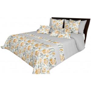 Květinový přehoz na postel šedé barvy