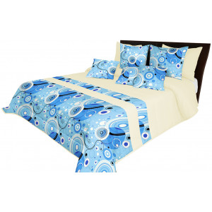 Kvalitní modrý přehoz na postel s dekoračním prošíváním