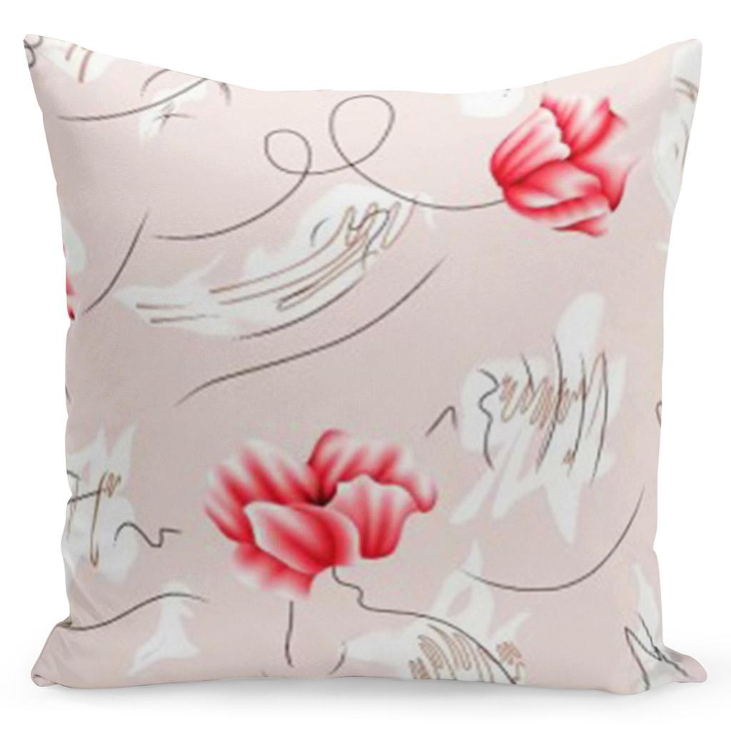 Krásný růžový povlak s barevnými květy