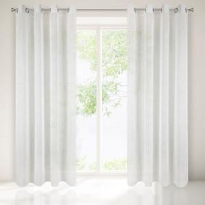 Bílá záclona na kruhy se všitým vzorem 140 x 250 cm