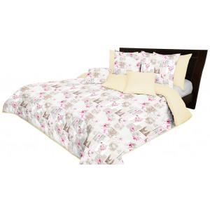 Krémový přehoz na postel s květinovým motivem