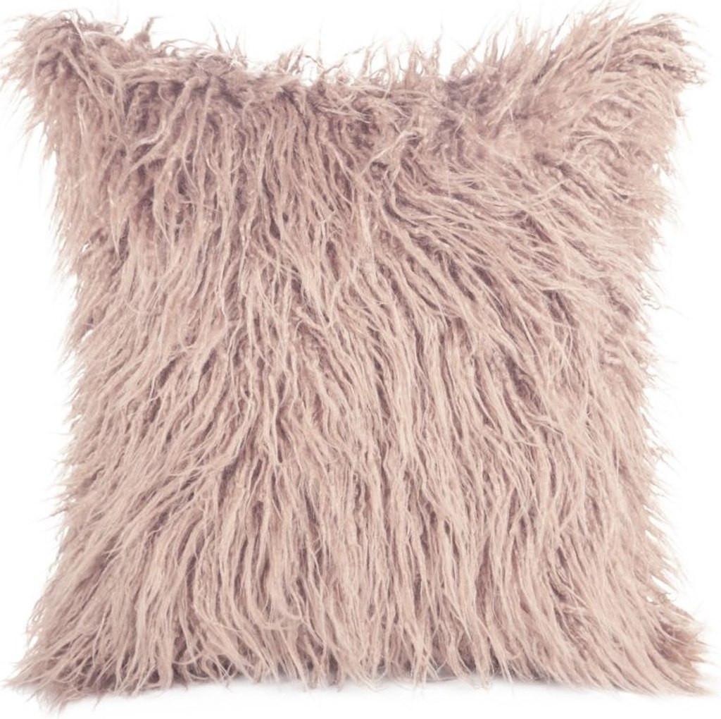 Chlupatý pohodlný povlak v růžové barvě 45x45