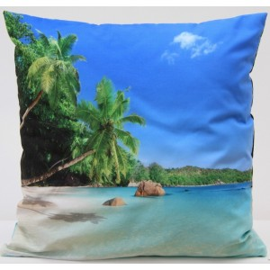 3D modrý povlak na polštář s motivem pláže 50 x 60cm