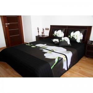 Přehoz na postel černý s bílou orchidejí