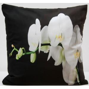 Černý povlak na polštář rozměr 50 x 60 cm s bílou orchidejí