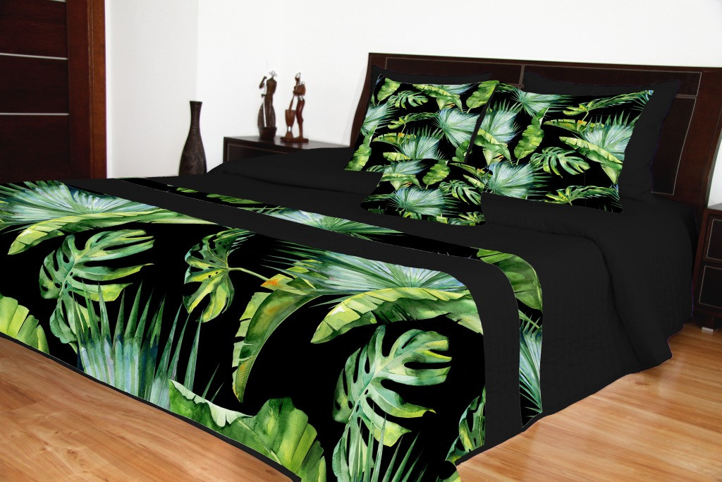 Černý moderní přehoz s barevným exotickým motivem