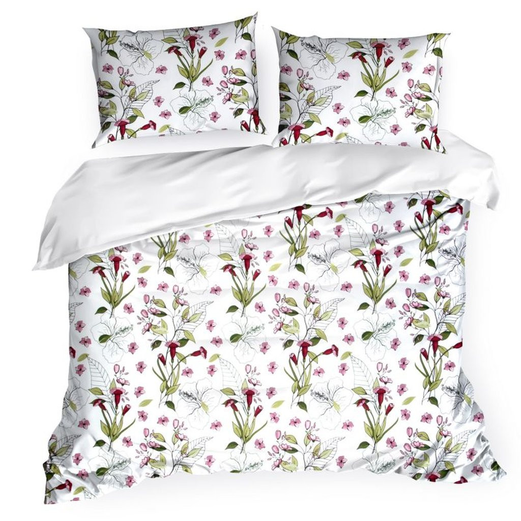 Pohodlné bílé bavlněné ložní povlečení barevnými květy