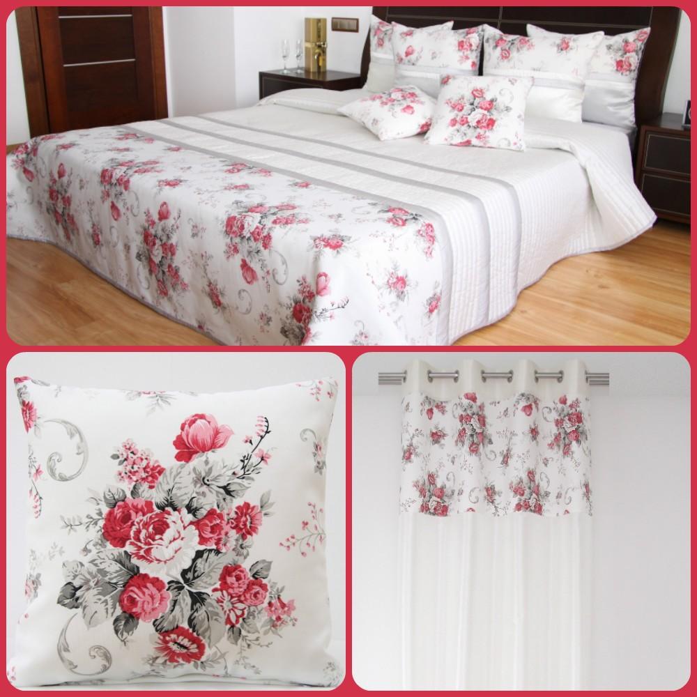 Dekorační bílý set do ložnice ve stylu vintage s kyticí rudých květů