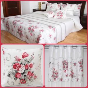 Dekorační sada do ložnice bílé barvy s vintage motivem květin