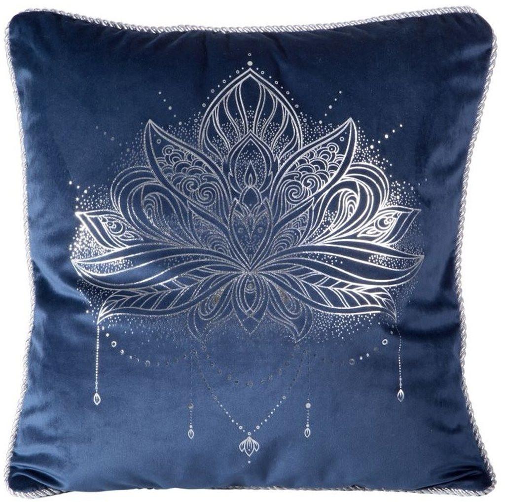 Modrý povlak na polštář se stříbrným potiskem květu