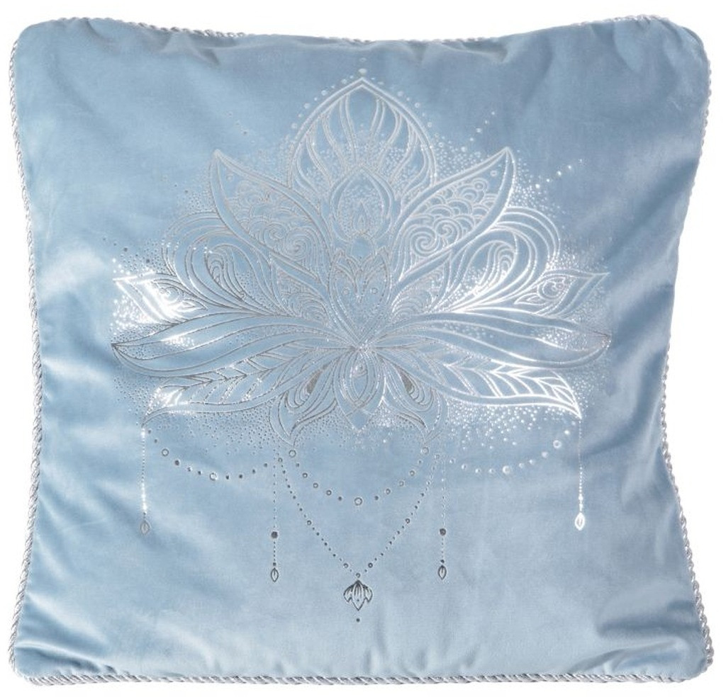 Světle modrý povlak na polštář se stříbrným potiskem