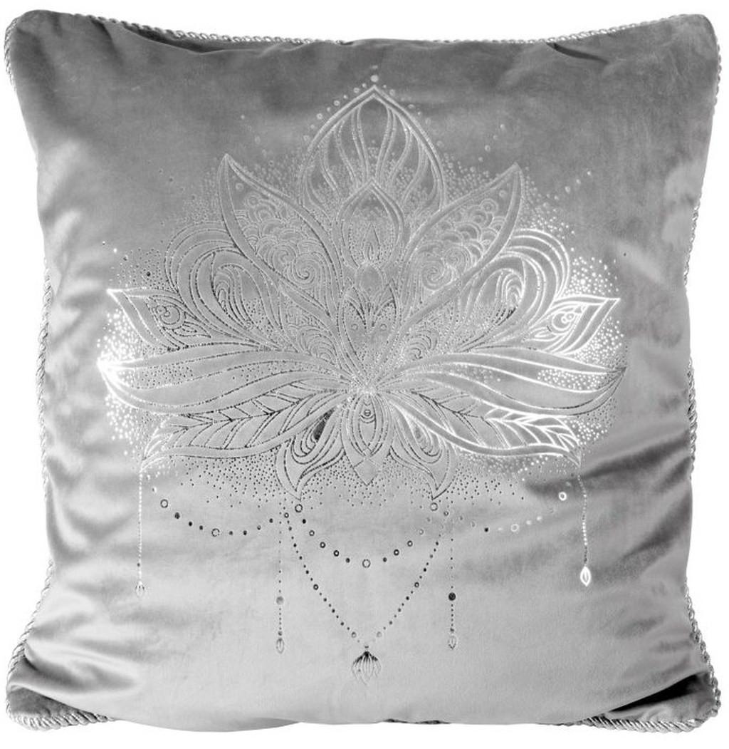 Šedě stříbrný povlak na polštář potiskem květu