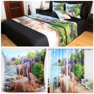 Dekorační set do ložnice s motivem sluneční pláže a moře u lesa