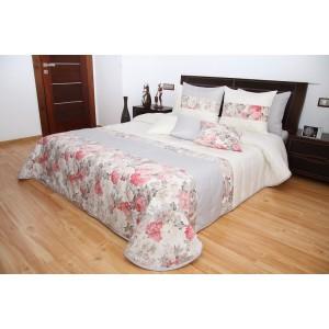 Přehoz na postel smetanové barvy s růžemi