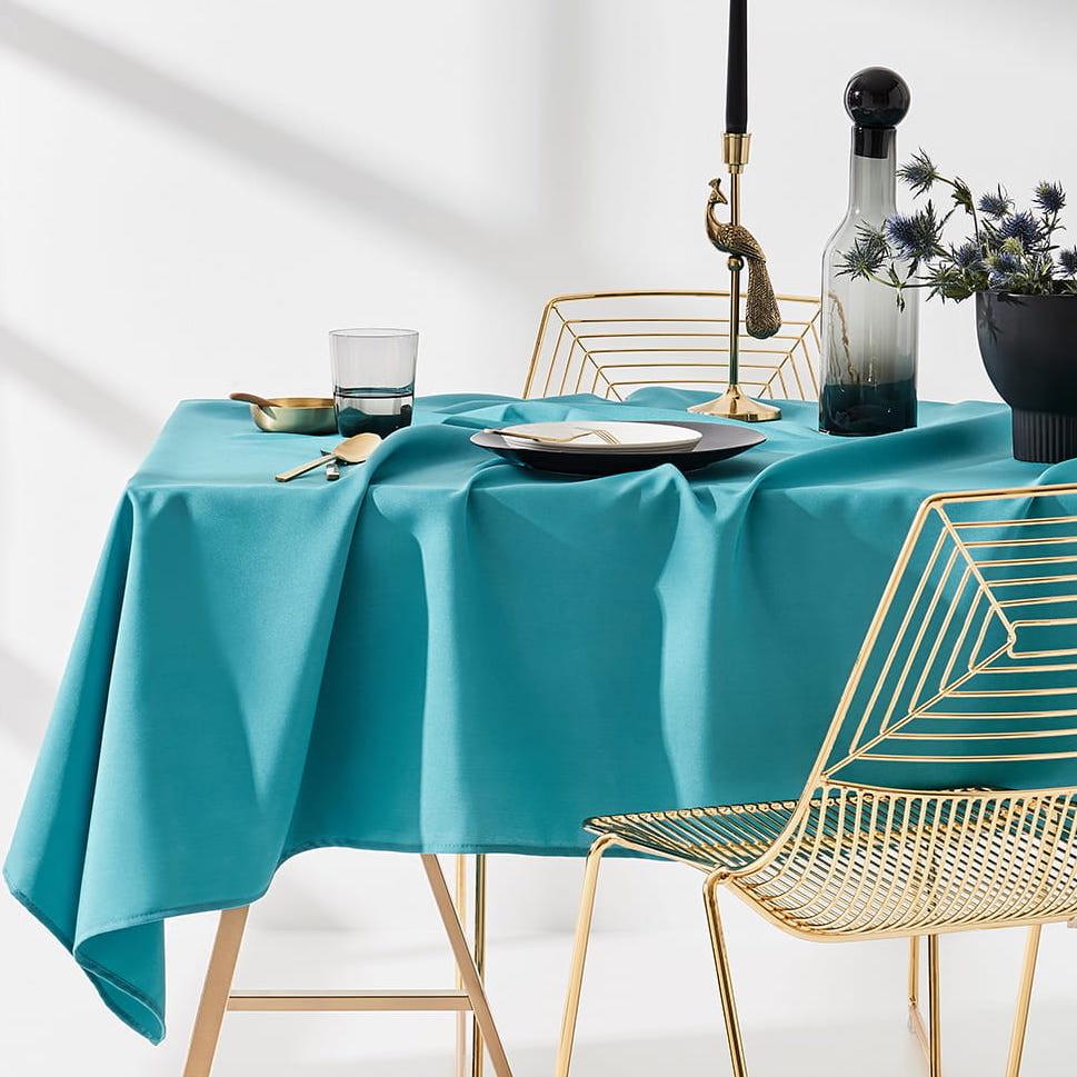 Dekorační ubrus na stůl v tyrkysové barvě 140 x 300 cm