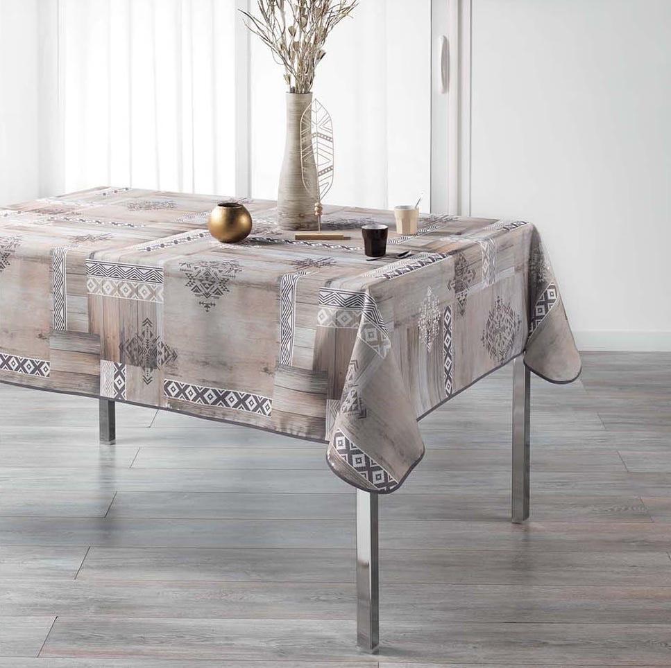 Dekorační ubrus na stůl s drevěným motivem 150 x 240 cm