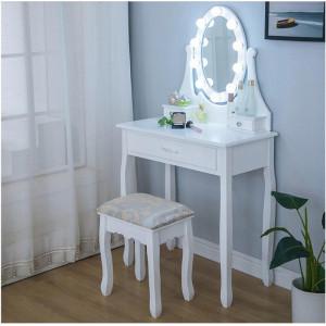 Toaletní stolek s LED zrcadlem a pěti zásuvkami