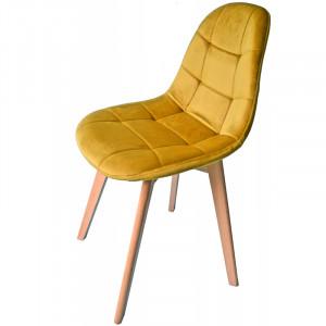 Luxusní čalouněná židle hořčicově žluté barvy