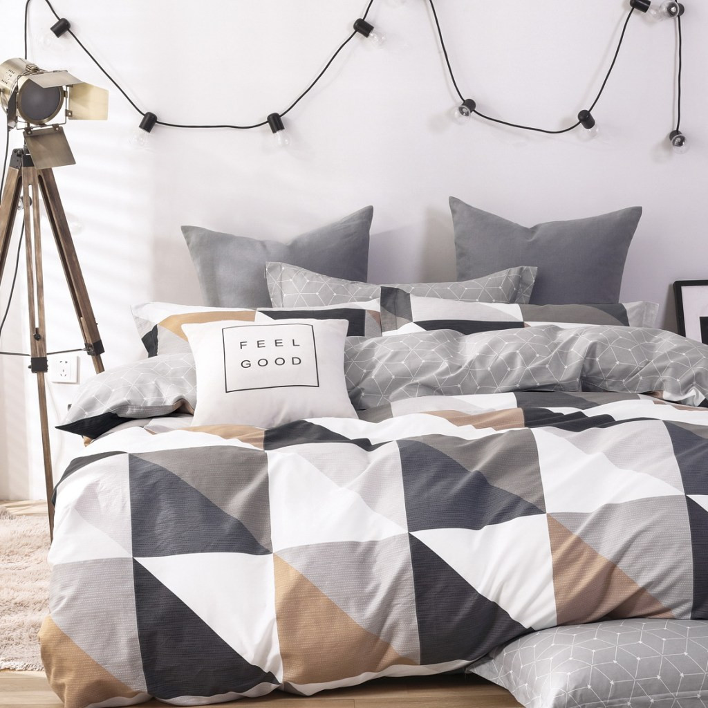 Moderní šedé oboustranné povlečení 100% bavlna
