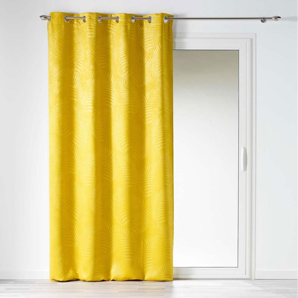 Žluté zatemňovací závěsy s tropickým motivem 140x240 cm