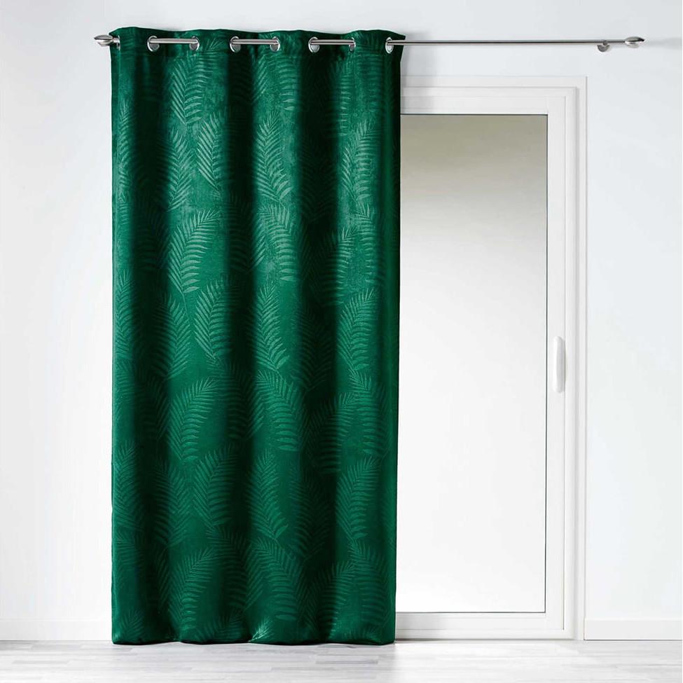 Zatemňovací závěs zelené barvy s exotickým motivem 140x240 cm