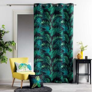 Skandinávské závěsy zelené barvy s exotickým motivem