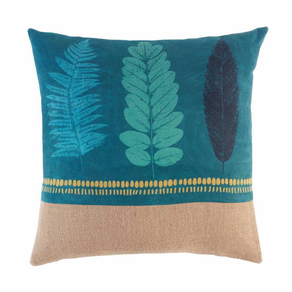 Tyrkysový dekorační polštář s listovým motivem