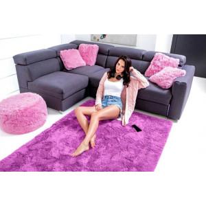 Zářivý plyšový koberec ve fialové barvě 120x170 cm