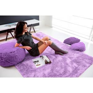 Světlo fialový plyšový koberec s jemným vlasem 140x200 cm