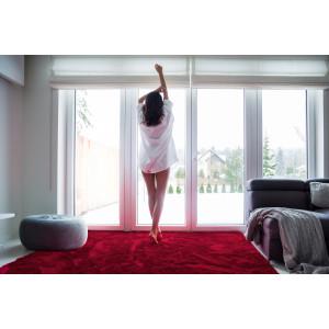 Bordový plyšový koberec do obýváku 120x170 cm