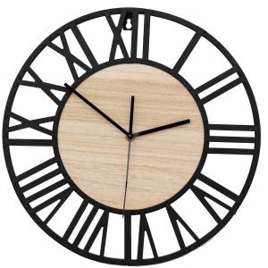 Moderní kovové nástěnné hodiny s dřevěným středem