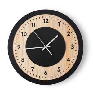 Luxusní černé hodiny s texturou dřeva 40x40 cm
